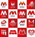 large set of logos letter M vector image