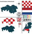 map of north brabant netherlands vector image
