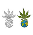 marijuana leaf and earth planet vintage black vector image