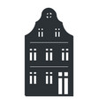 multi storey house black silhouette isolated icon vector image
