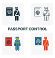 passport control icon set four elements in vector image vector image