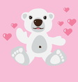 polar bear with pink hearts vector image vector image