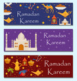 ramadan kareem banners set with arabic design vector image