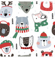 seamless childish pattern with cute holiday bear vector image
