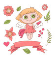set cute cartoon angels for valentine s day vector image