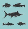 set fish symbols vector image