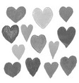 set with gray heart shape drawn vector image vector image