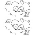 sleeping bain diapers line art vector image vector image
