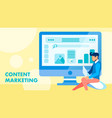 smm content marketing flat banner concept vector image vector image