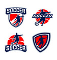 soccer player silhouettes vector image