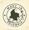 Stamp with map of Colombia vector image vector image