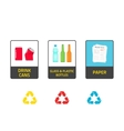 Stickers for recycling trash bins vector image