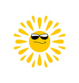 Sun logo with black glasses vector image