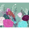 Teal Floral Background with Parrots vector image vector image