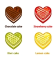 Fruit cupcakes collection valentines day vector image