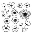 flower cute black icon vector image