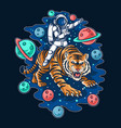 astronaut riding outer space tiger editable layer vector image