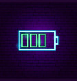 battery neon label vector image