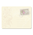 blank post stamp with magnolia vector image vector image