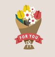 bouquet flowers with different types flat vector image vector image