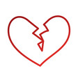 broken heart icon divorce end of love symbol vector image