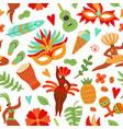carnival seamless pattern festive people brazil vector image