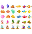 cartoon game icons with seashell colorful vector image