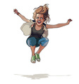 cartoon girl jumping with hands wide apart vector image vector image