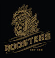 chicken rooster vintage tattoo gold vector image vector image