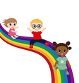 Children slide down on a rainbow vector image