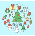 Christmas and New Year 2017 Thin Line Icons vector image vector image
