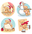 christmas teddy bears vector image
