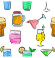 collection drink various pattern style vector image vector image