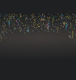 confetti and ribbons on dark background vector image vector image