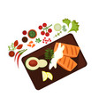 cooked steak on plate vector image vector image
