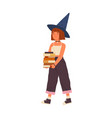 cute girl wearing witch hat hold pile magic vector image vector image
