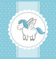 cute unicorn wings animal magic card dots vector image vector image