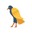 falcon blue bird with golden wings symbol of vector image