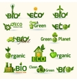 Green Ecology Text Icons Set vector image vector image