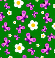 Green Meadow With Purple Butterflies And Flowers vector image vector image