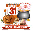 halloween calendar jack o lantern and candies vector image vector image
