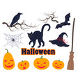 halloween simple elements set vector image