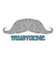 hand drawn mustache logo vector image vector image