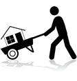House on a wheelbarrow vector image