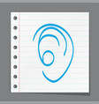 human ear doodle style vector image