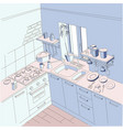 kitchen anime background style blue and pink vector image vector image