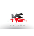 ks k s brush logo letters with red and black vector image vector image