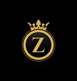 letter z royal crown luxury logo design vector image vector image