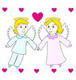 lovely angels boy and girl fly in the hearts vector image