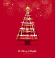 merry christmas gold hand drawn pine tree card vector image vector image